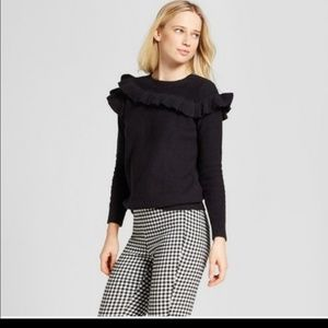 Who What Wear black ruffle accent sweater